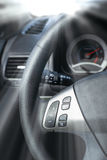 Car Steering Wheel with shallow depth of field Stock Photos