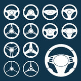 Car Steering Wheel silhouettes Set. Set of car steering wheel vector icon silhouettes. Auto steering wheel symbols. Automobile steering wheel icons. Auto Royalty Free Stock Images