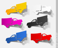 Car sticker truck realistic auto transport travel Stock Photos