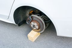 Car with stolen wheels Royalty Free Stock Photos