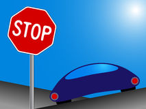 Car and stop Royalty Free Stock Photography