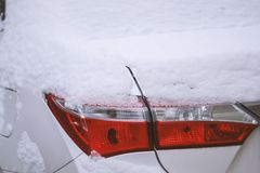 Car stop light with snow. In istanbul of Turkey Royalty Free Stock Photo
