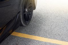 Car stop in parking lot overlap. On yellow Road Marking on the road Royalty Free Stock Images