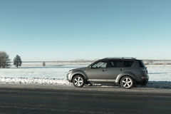 The car stopped at the curb in the winter. Car stopped at the curb in the winter Royalty Free Stock Photo