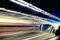 Car streaks of light in tunnel Royalty Free Stock Photos