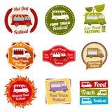 Car street food festival color labels set. Car food service labels. Van restaurant and mexican snack badges. Vector illustration vector illustration