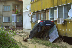 Car stuck in block flooding Varna Bulgaria. These are the consequences of record rain that poured over the city of Varna on June 19th, 2014.tidal wave of tons of Stock Images
