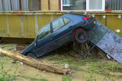 Car stuck in block flooding Varna Bulgaria. These are the consequences of record rain that poured over the city of Varna on June 19th, 2014.tidal wave of tons of Royalty Free Stock Photos