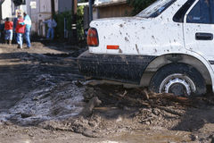 Car stuck in mud Royalty Free Stock Image
