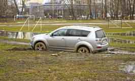 Car stuck in the mud Royalty Free Stock Photos