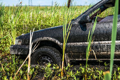 Car stuck in the mud Royalty Free Stock Photography
