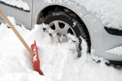 Car stuck in snow. During severe winter stock photography