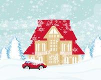 Car Stuck In The Snow. Illustration Stock Photos