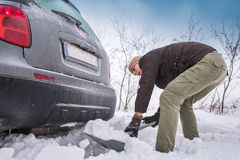 Car stuck in snow Royalty Free Stock Photos
