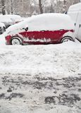 Car stuck in snow Royalty Free Stock Photography