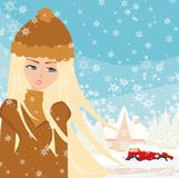 Car Stuck In The Snow. Vector Illustration Stock Photo