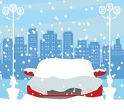 Car Stuck In The Snow. Vector Illustration Royalty Free Stock Photography