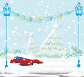 Car Stuck In The Snow Stock Photo