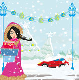 Car Stuck In The Snow. Vector Illustration Stock Photography