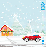 Car Stuck In The Snow Royalty Free Stock Photography