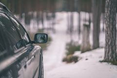 car stuck in the snow - vintage look edit Royalty Free Stock Photo