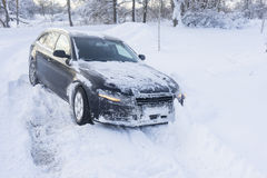 Car stuck in snow, winter concept Royalty Free Stock Image