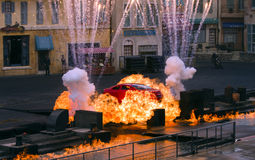Car stunt. A stunt car goes through a fiery explosion at the Lights, Motors, Action! Extreme Stunt Show in Disney's Hollywood studios theme park stock photography