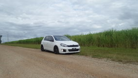 Car sugarcane farm vw golf gti modified hatch. A shot of my gti golf sitting at the same height as the sugar cane fields Royalty Free Stock Photo