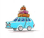 Car with suitcases, for travel. Ers Royalty Free Stock Photography