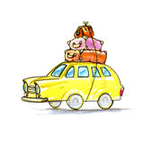 Car with suitcases, for travel. Ing Royalty Free Stock Images