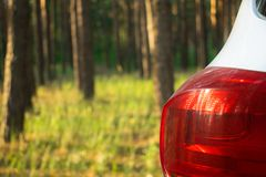 A car in a summer forest in the sunlight. Car headlight close-up on a background of trees.Camping outdoor activities, picnic in t. A car in a summer forest in stock image