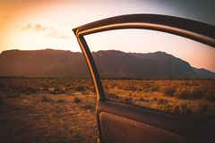 In car. Summer vacation and travel, romantic road trip mountain st sunset beautiful landscape. Open the car door stock photos