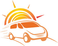 Car with sun background logo concept. Has been created as vector Royalty Free Stock Photography