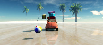 Car, Sun and beach Stock Images