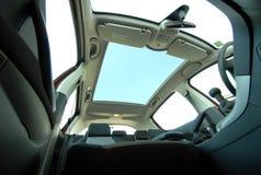 Car sunroof. Photo large sunroof inside car Royalty Free Stock Photo