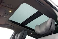 Car sunroof. With rain drops Stock Image