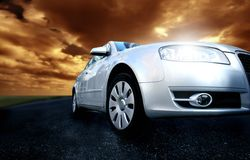 A car and a sunset Royalty Free Stock Photos
