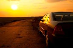 Car Sunset Royalty Free Stock Photos