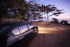 Car with sunset viewpoint Stock Photos