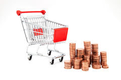 Car supermarket with coins Stock Image