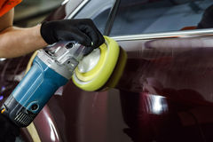 Car surface buffing Stock Image