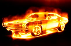 Car surrounded by flames Royalty Free Stock Photos