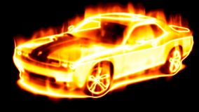 Car surrounded by flames Stock Images