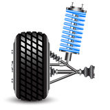 Car suspension, frontal view. Stock Photos