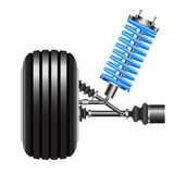 Car suspension, frontal view. Vector Illustration Stock Photos
