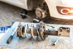 Car suspension repair. Shock absorber. Car suspension repair. Shock absorber stock photo
