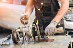 Car suspension repair. Shock absorber. Car suspension repair. Shock absorber stock photography