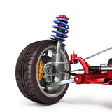 Car suspension separately from the car  on white 3d illu. Car suspension separately from the car  on white Stock Photography