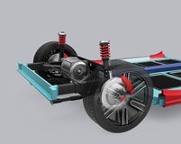 Car suspension and underframe isolated on gray background. 3D rendering image Royalty Free Stock Image