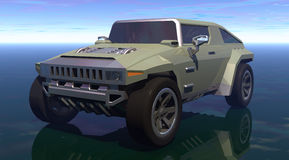 Car suv. A suv car prototype with a daylight background in 3d royalty free illustration
